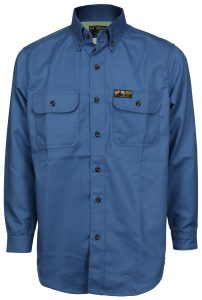 Flame Resistant FR Shirt Long Sleeve with Vented Underarms Blue Color