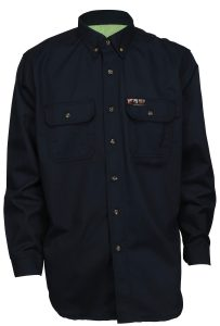 Flame Resistant FR Shirt Long Sleeve with Vented Underarms Navy Blue