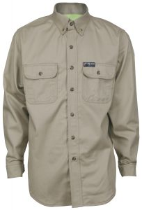 Flame Resistant FR Shirt Long Sleeve with Vented Underarms Tan Color