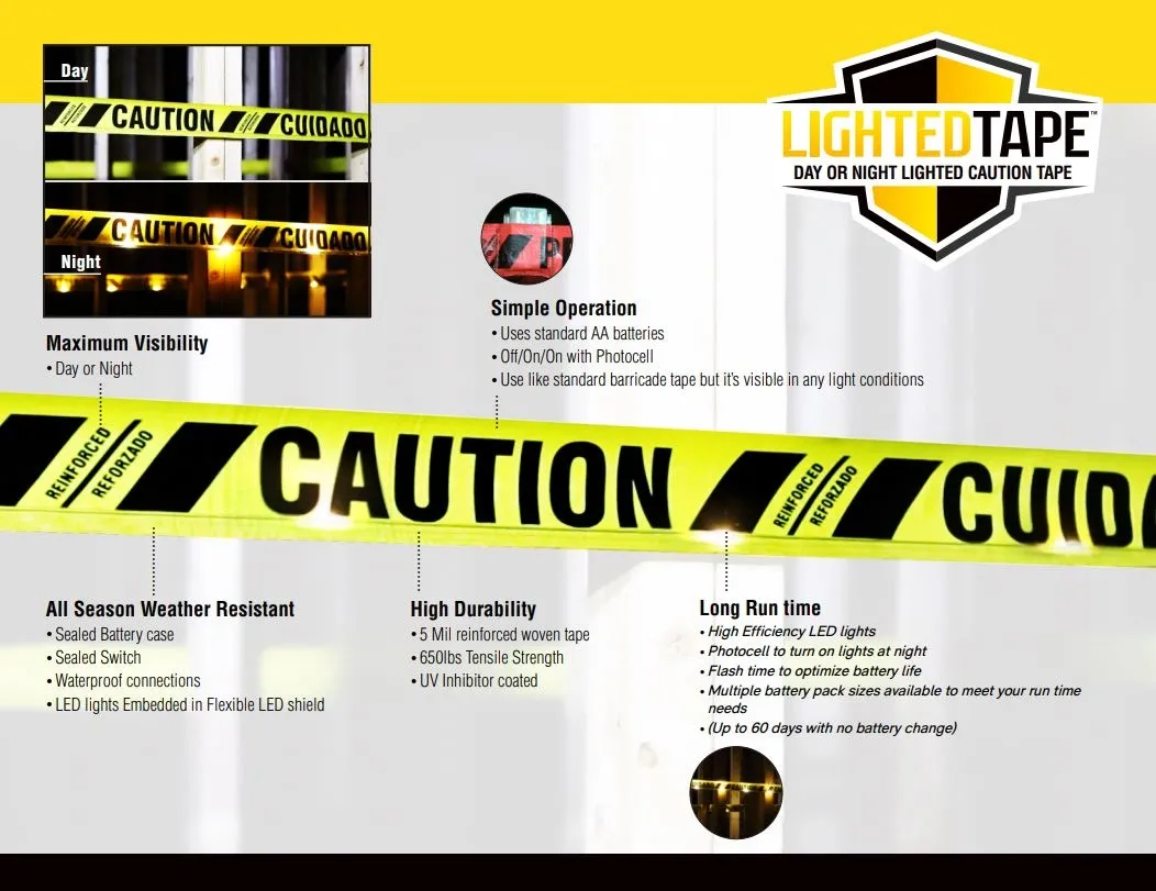 Reinforced reusable lighted caution tape